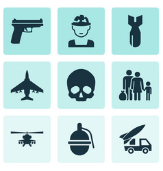 Combat icons set collection of cranium ordnance vector