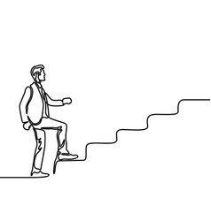continuous line drawing a man climbs stairs vector image