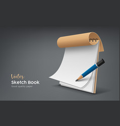 Cover brown sketch book and white paper vector