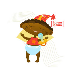 cute baby boy sleeping african american toddler vector image