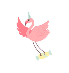 cute flamingo wearing party hat flying with candy vector image