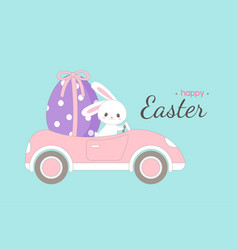 cute rabbit carrying big easter egg in a car vector image