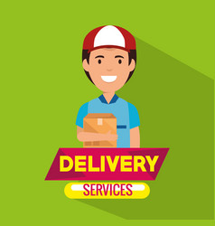 Delivery service with courier lifting box vector