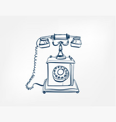 dial telephone art line isolated doodle vector image