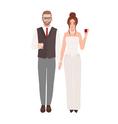 elegant romantic couple in luxury evening outfits vector image