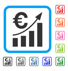 euro bar chart trend framed icon vector image