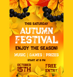 Fall festival of autumn harvest poster template vector