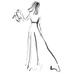 fashion models sketch girl in dress vector image