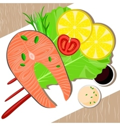 Fish dish on plate Healthy food vector image