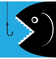 Fish open mouth to swallow a hook vector