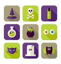 Flat Scary Halloween Witch Squared App Icons Set vector