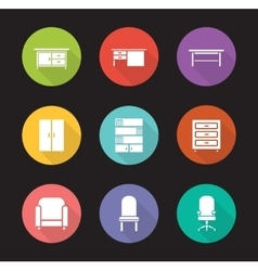 Furniture flat design icons set vector