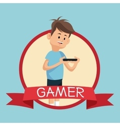 Gamer smartphone video playing banner blue vector