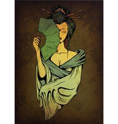 Geisha on grunge background vector