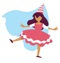 Girl in fairy costume birthday party or carnival vector