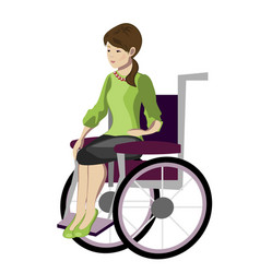 Girl woman sitting in wheelchair vector