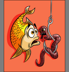 Gold fish scared a worm in a hook vector
