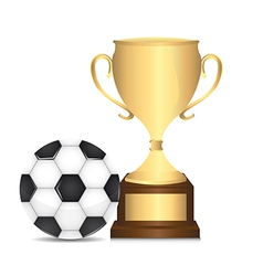 Gold trophy with soccer ball isolated over white vector