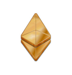 Golden ethereum coin trendy 3d style icon vector