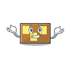Grinning bulletin board stuck to wall character vector