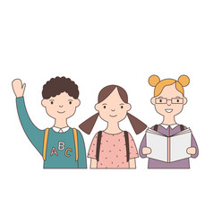 group adorable smiling children or pupil vector image
