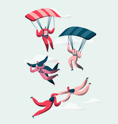 Group of skydivers fly between clouds happy people vector