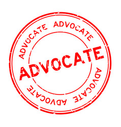 Grunge red advocate word round rubber seal vector
