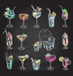 hand drawn sketch set alcoholic cocktails vector image