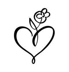 Hand drawn two heart and flower love sign vector