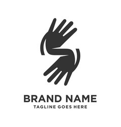 hand logo in form initials s vector image