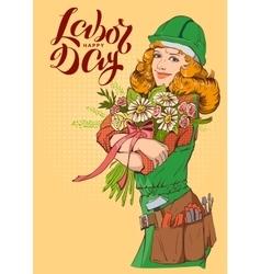 Happy Labor Day Girl worker in helmet with vector image