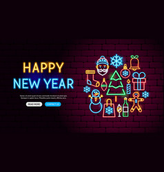 happy new year neon banner design vector image