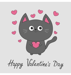 Happy Valentines Day Gray contour cat holding pink vector