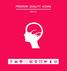 head with brain symbol icon graphic elements for vector image