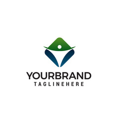 healthy and care logo design concept template vector image