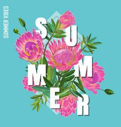 Hello summer botanical tropical design floral vector