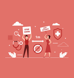 keep social distance 1 m safe between people vector image