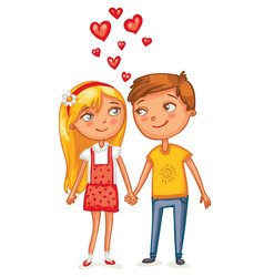 Loving couple holding hands vector