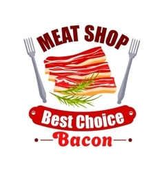 Meat shop sign of bacon fork for butchery design vector image
