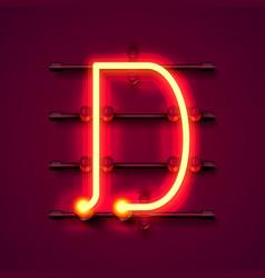 Neon font letter d art design signboard vector