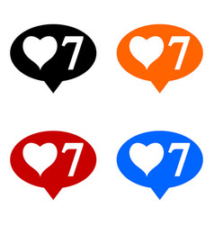 new seven like icons set vector image