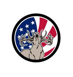 North american deer usa flag icon vector