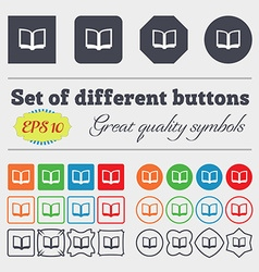 Open book icon sign Big set of colorful diverse vector