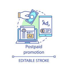 Postpaid promotion concept icon ppc channel idea vector