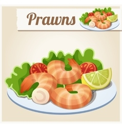 Prawns Detailed Icon vector