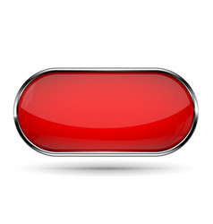 Red oval button with metal border vector