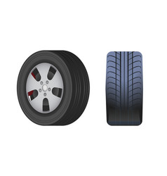 Rubber car wheel black tyre isolated icon vector