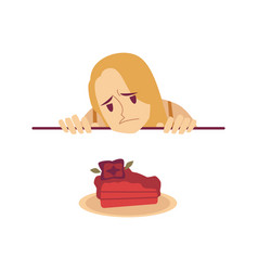 sad woman is looking at cake from under the table vector image