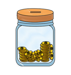 Savings box with coins vector