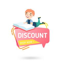 school discount banner sale studying supplies vector image